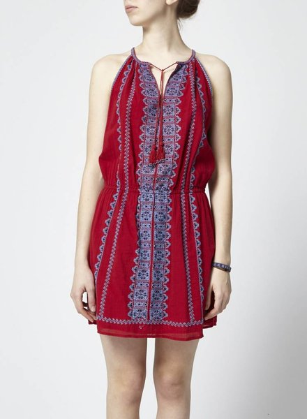 Joie ROBE ROUGE À BRODERIES BLEUES