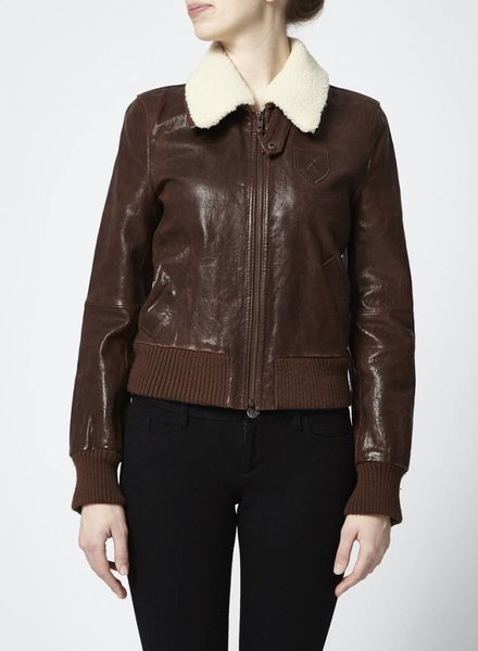 Drykorn for Beautiful People BLOUSON EN CUIR MARRON COL MOUTON
