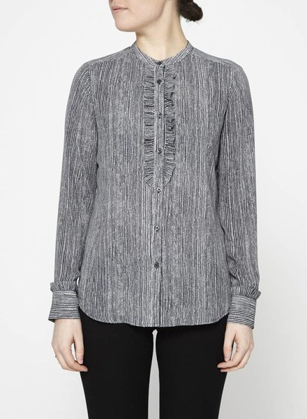 Banana Republic CHEMISE GRISE RAYÉE COL FROUFROUS