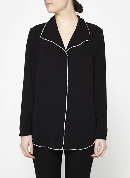 Babaton BLOUSE AMPLE NOIRE FINES COUTURES BLANCHES