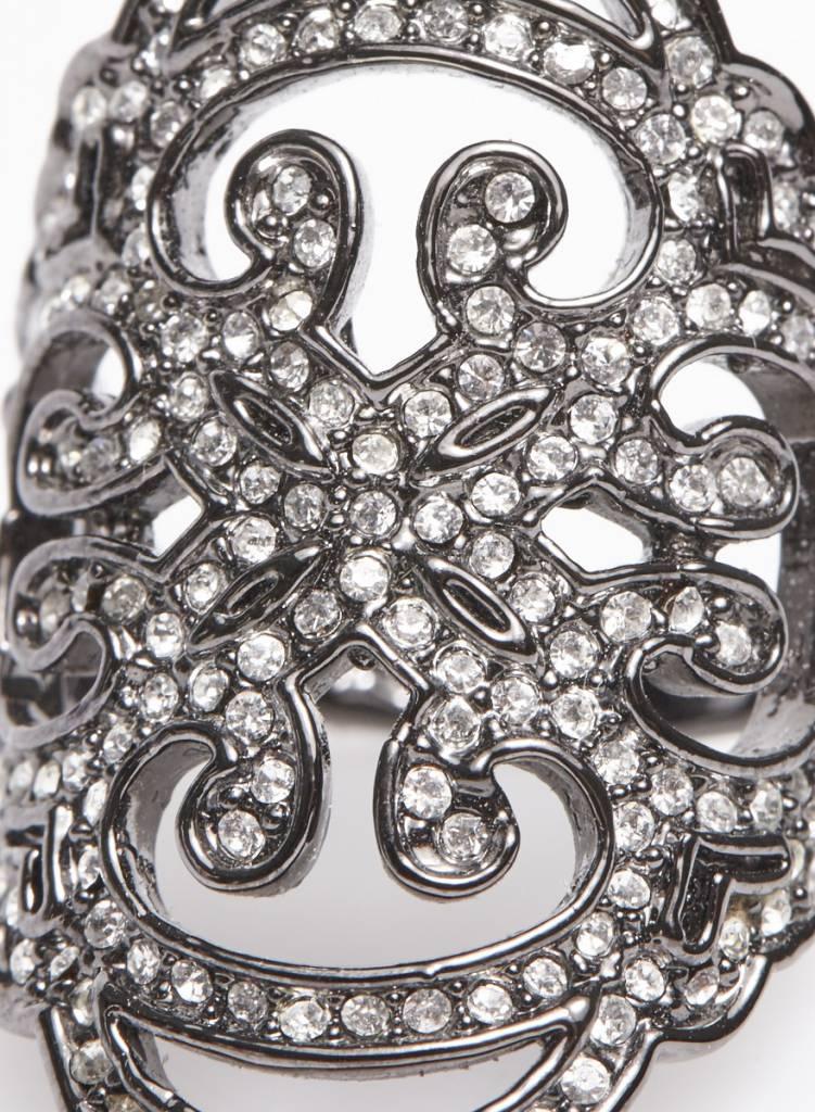 Agatha Bague gris foncé avec cristaux