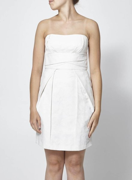 Max & Cleo ROBE BUSTIER BANCHE TEXTURÉE