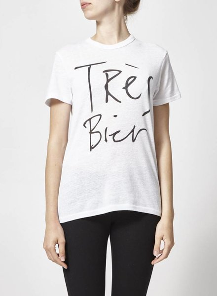 """CHRLDR T-SHIRT BLANC INSCRIPTION """"TRÈS BIEN"""""""