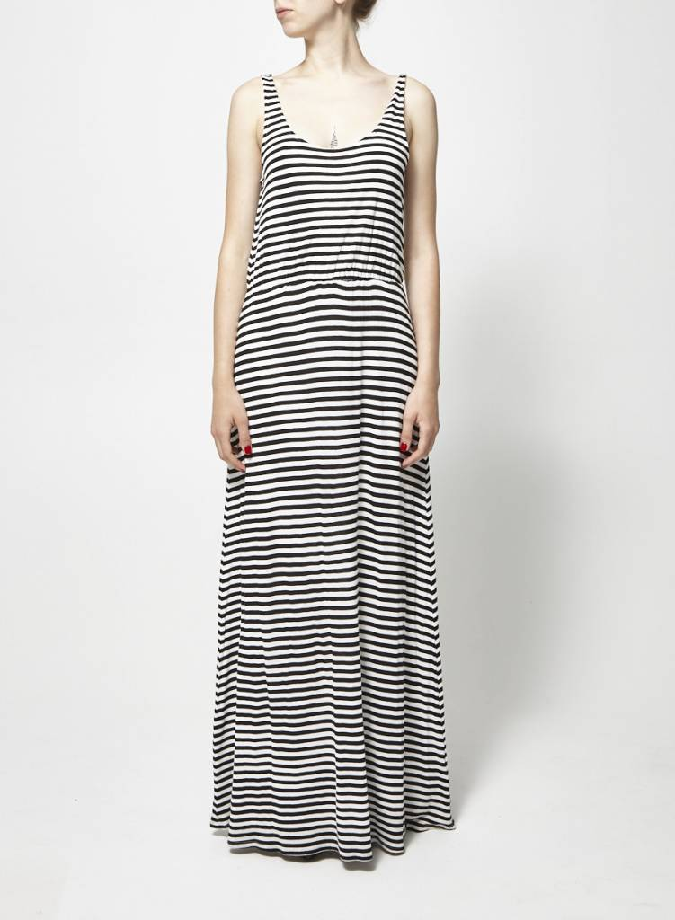 Ella Moss Robe longue rayée noir et blanc