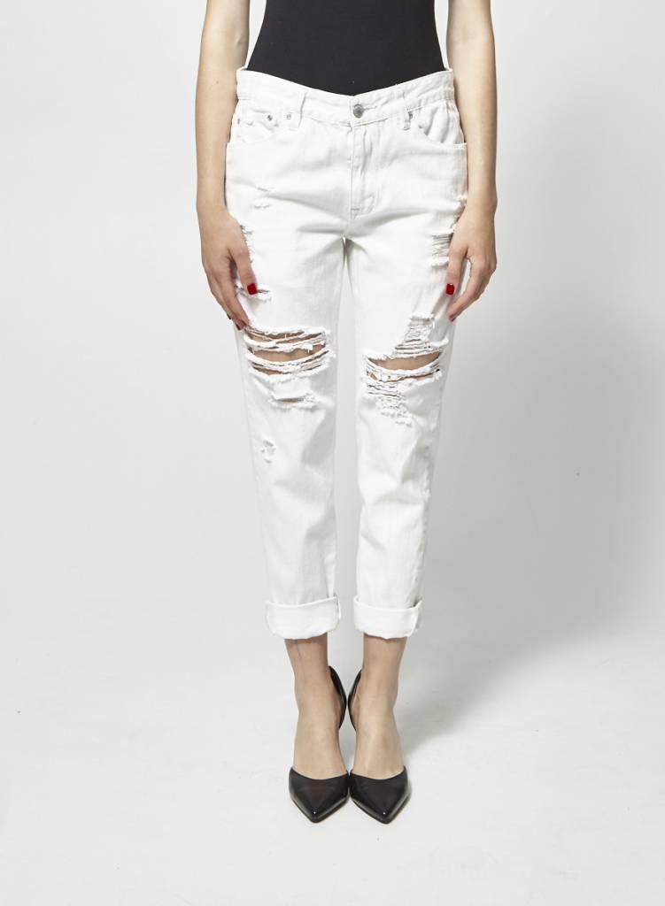 RES Denim Jeans blanc écourté et troué