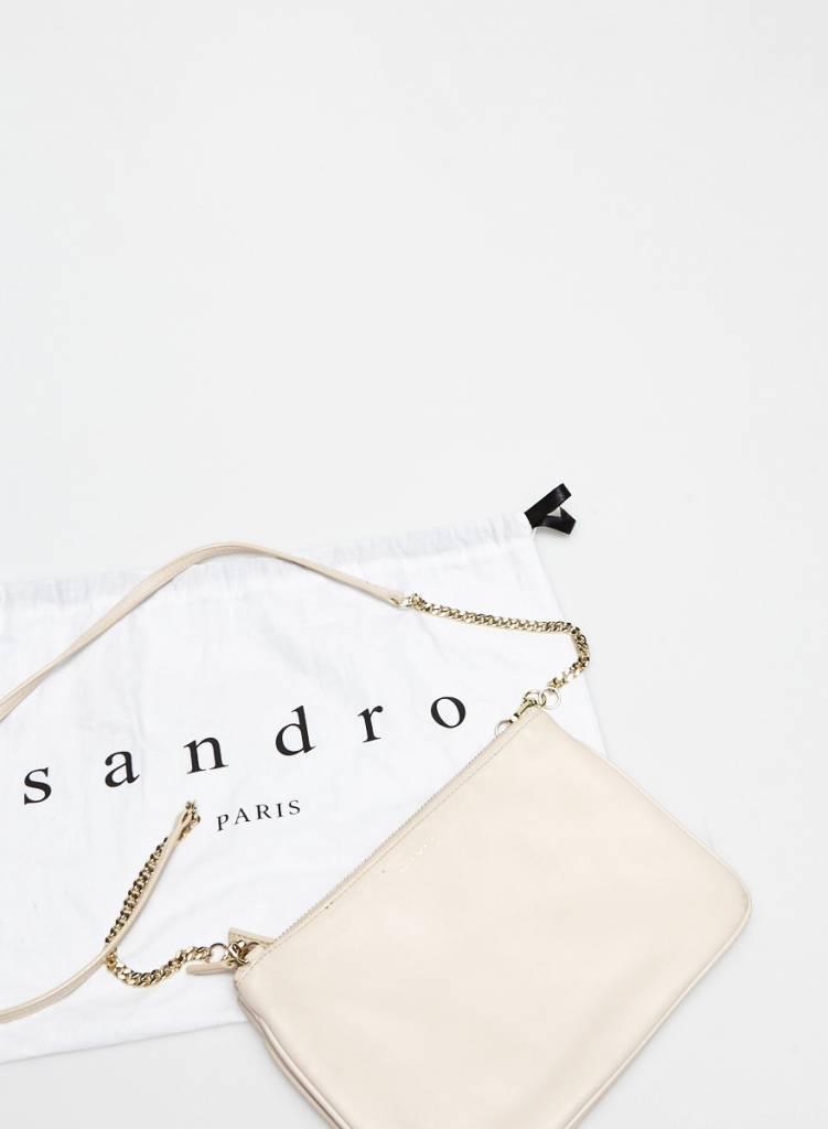 Sandro Sac à main pochette en cuir beige rosé
