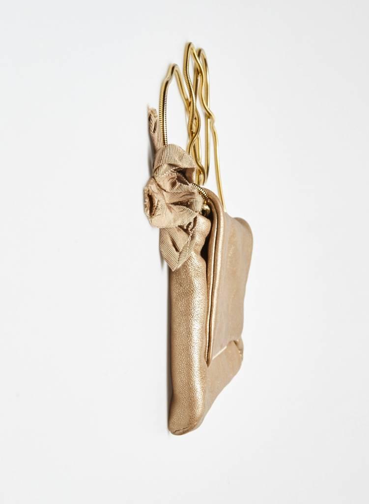 Lanvin Sac à main en cuir rose doré