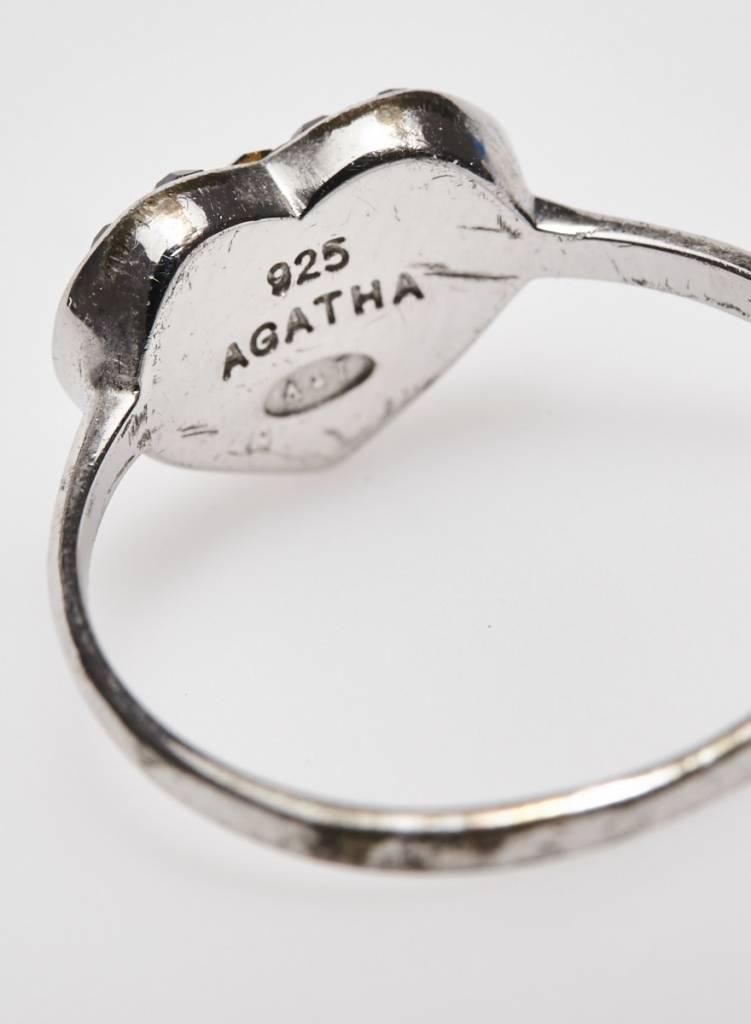Agatha Bague argent avec coeur noir à petites pierres
