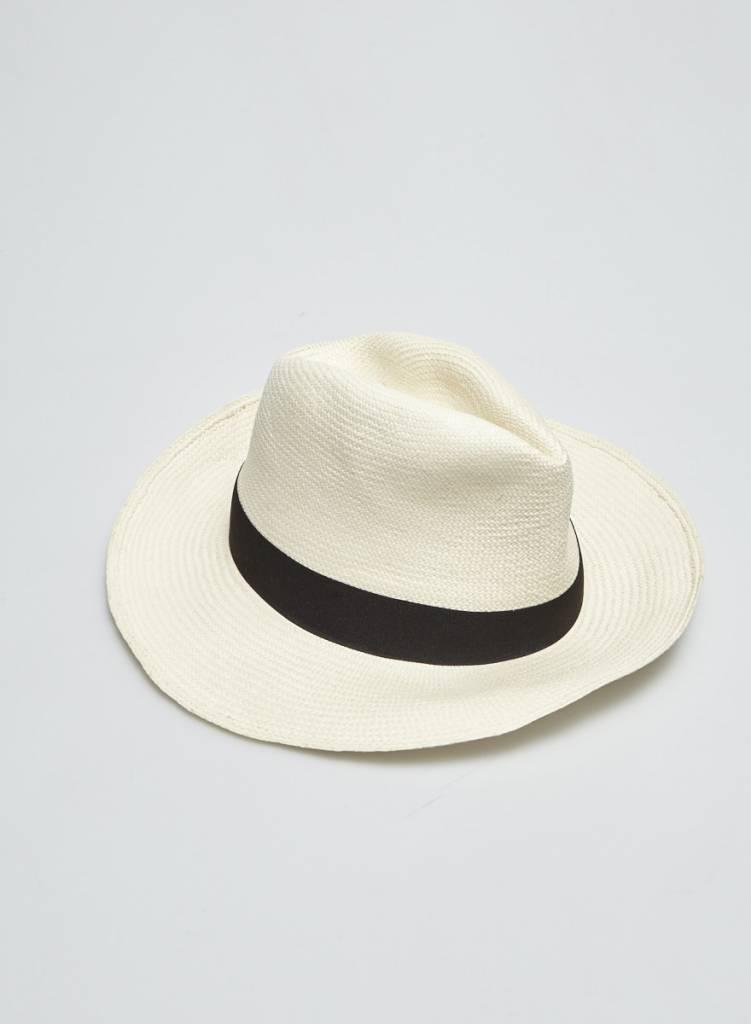 Chapeau panama crème bande noire