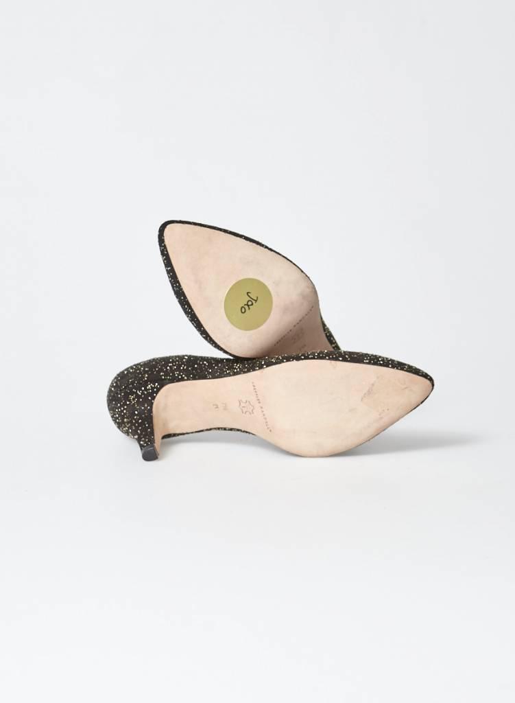 Loeffler Randall Escarpins en suède noir et confettis dorés