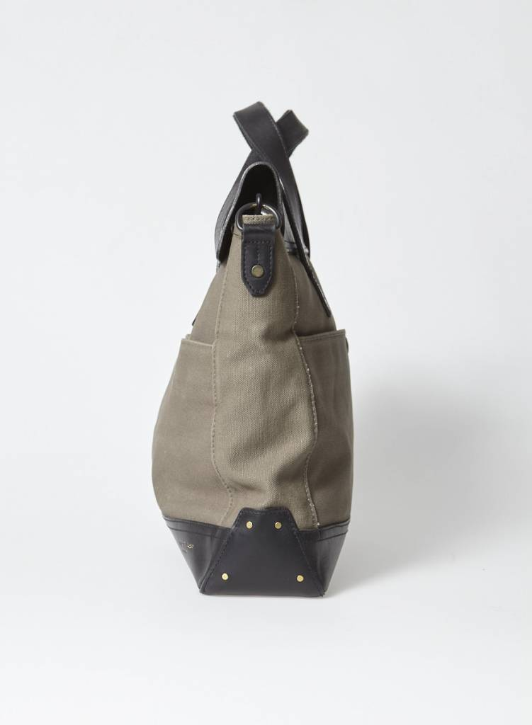 Rag & Bone Sac messager cuir noir et tissu kaki