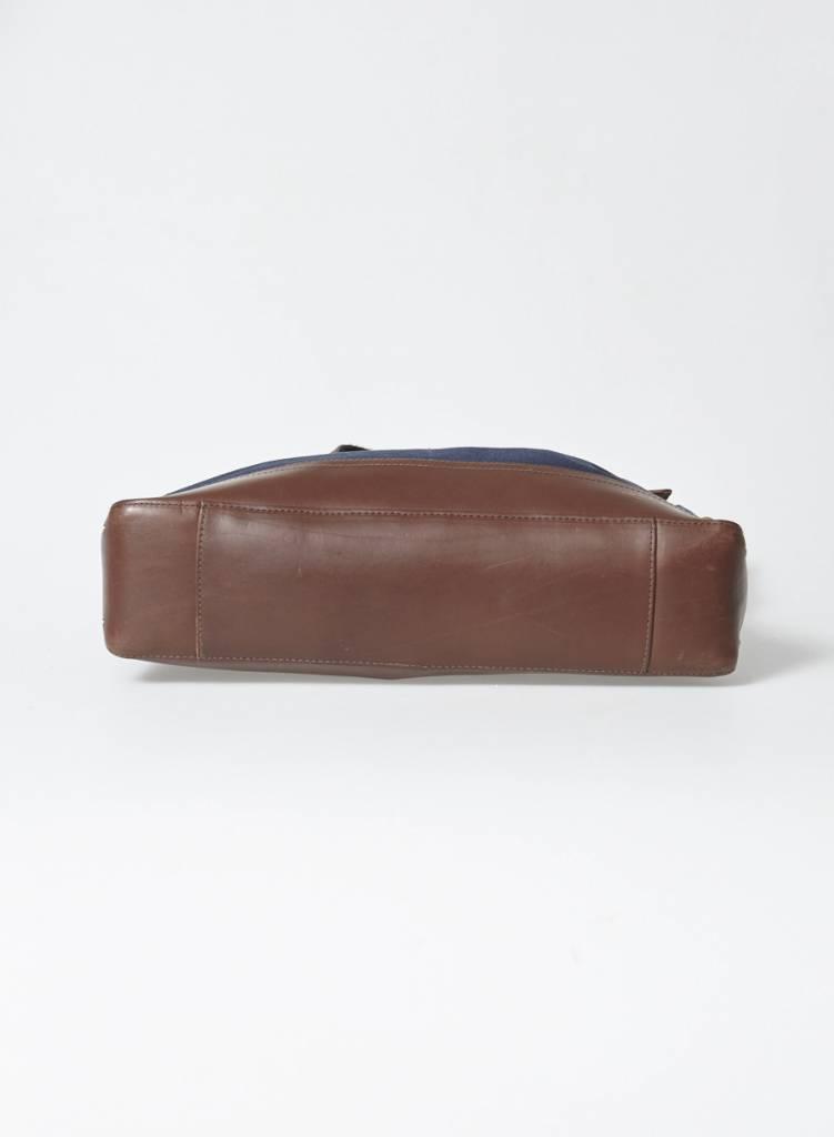 Rag & Bone Sac messager cuir marron et toile marine