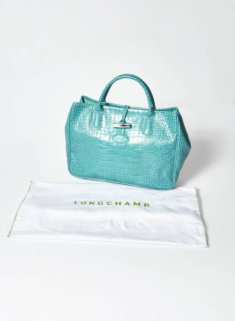 Longchamp Sac en cuir turquoise effet croco