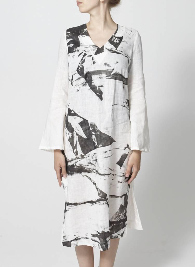 Robe-tunique en lin imprimé graphique