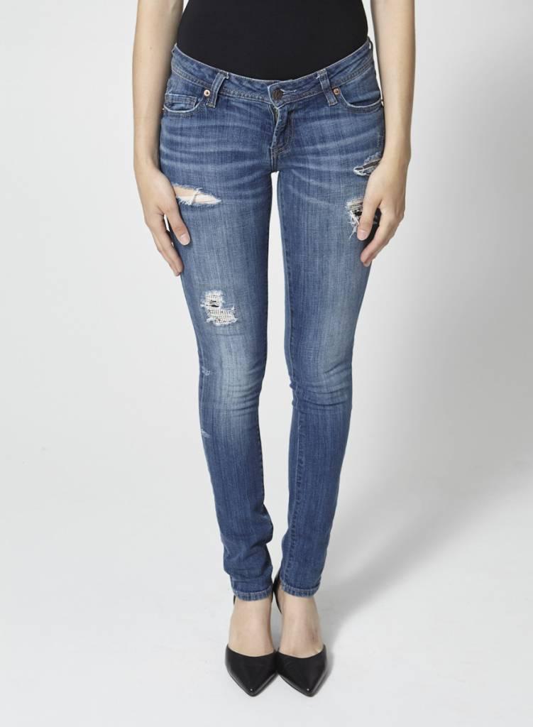Genetic Denim Jeans skinny bleu effet déchiré et paillettes