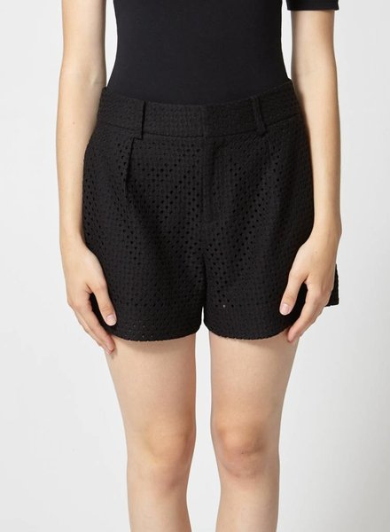 Club Monaco SHORT NOIR MOTIF D'OEILLETS
