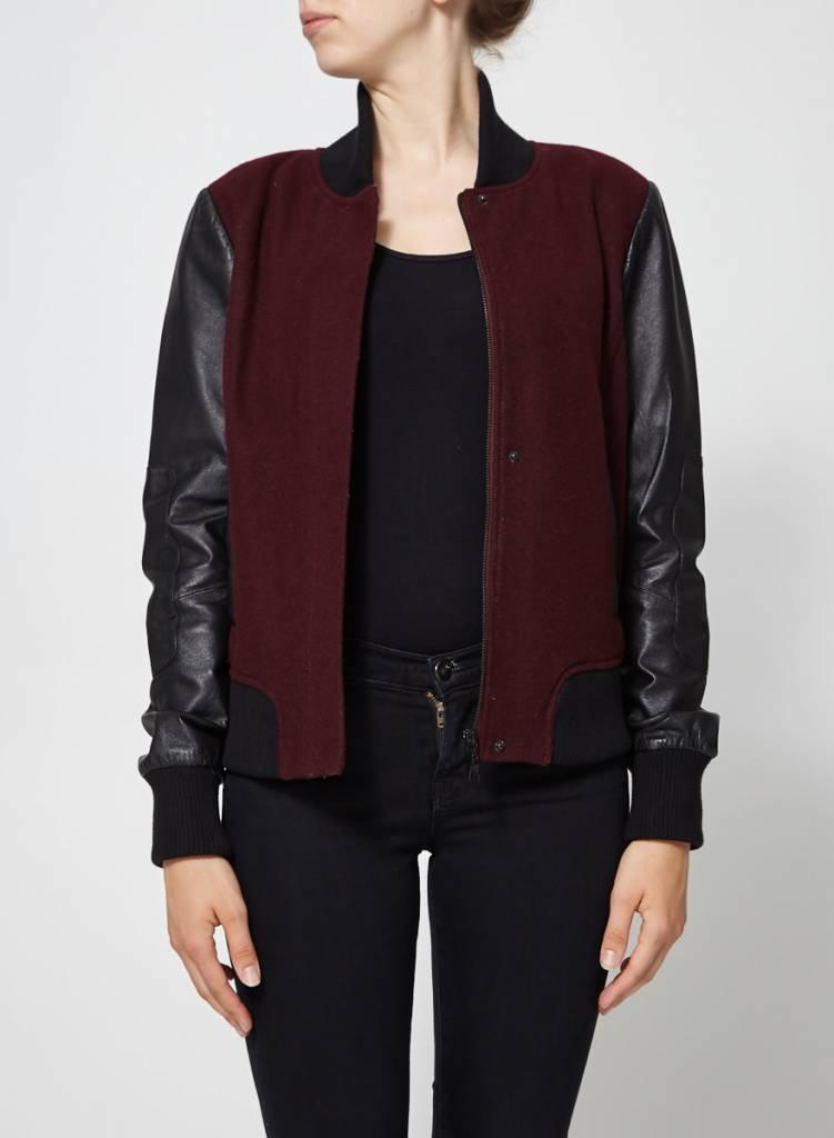 Blink Blouson en laine bourgogne et cuir noir