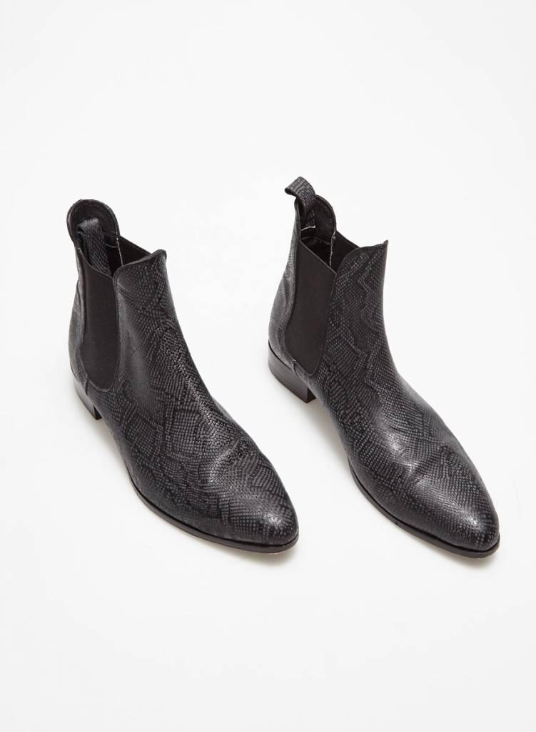Cartel Bottillons noir et gris en cuir effet serpent