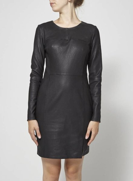 & Other Stories ROBE NOIRE EN CUIR DOS OUVERT