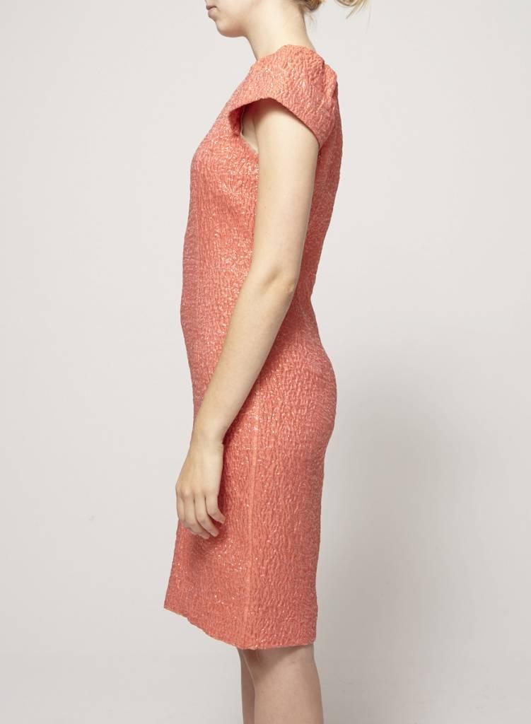 Lida Baday Robe corail scintillante avec soie