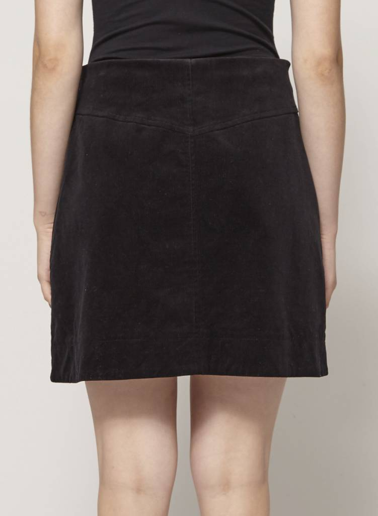 Betina Lou Jupe noire en velours côtelé à boutons