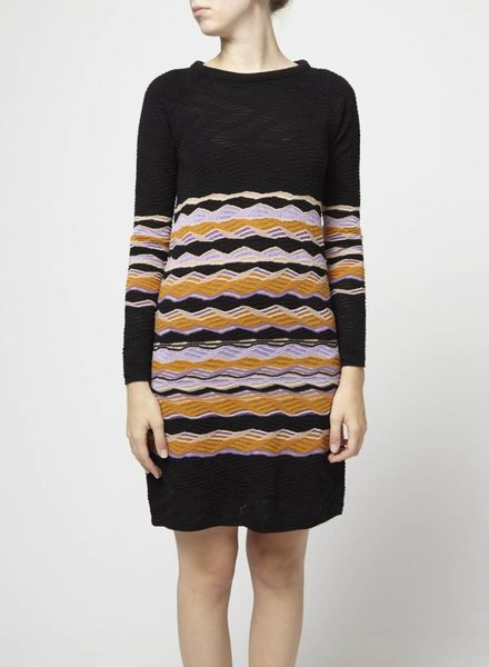 M Missoni ROBE EN TRICOT NOIR, ORANGE ET VIOLET