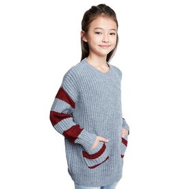 Hayden Hayden Striped Sleeve Pocket Sweater