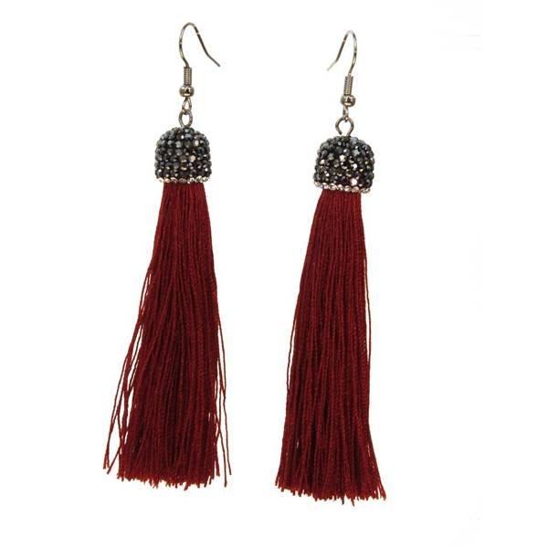Kole Jewelry Design Crystal Cap Tassel Earrings