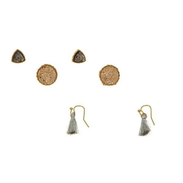 Kole Jewelry Design Triple Druzy Earrings