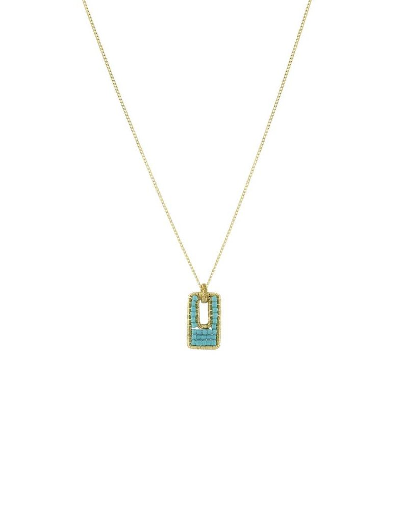 Dana Kellin Fashion Open Rectangle Turquoise Necklace