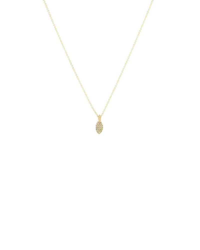 Dana Kellin Fine 14k Mini Pave Diamond Leaf Necklace