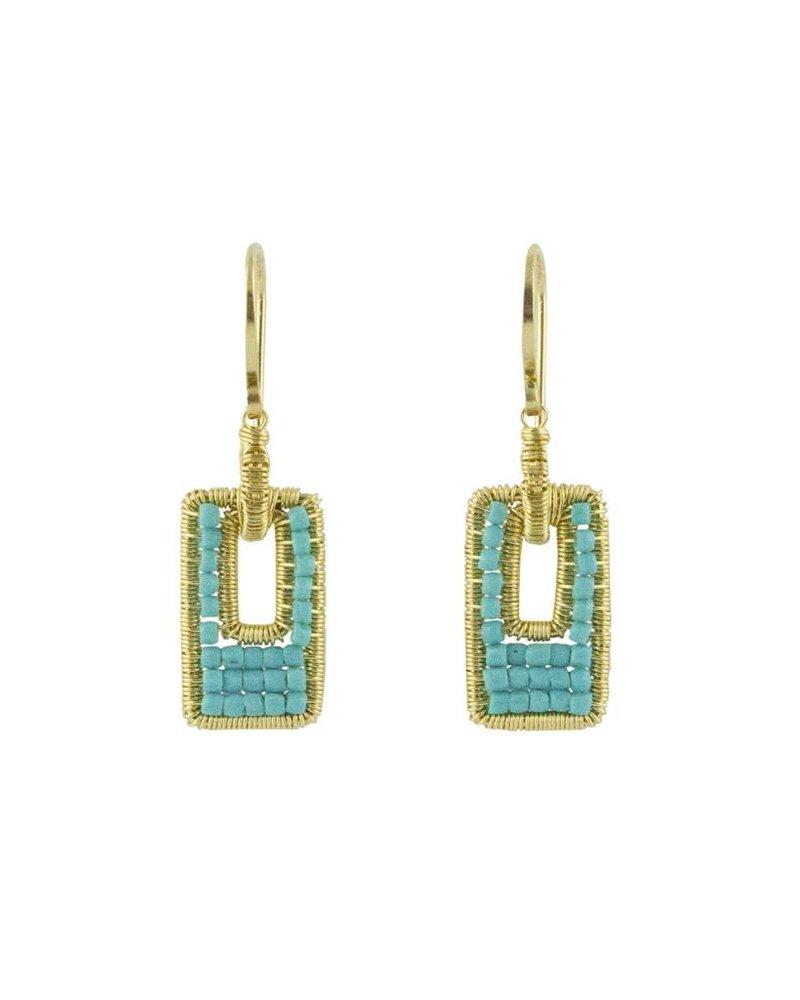 Dana Kellin Fashion Open Rectangle Turquoise Earrings