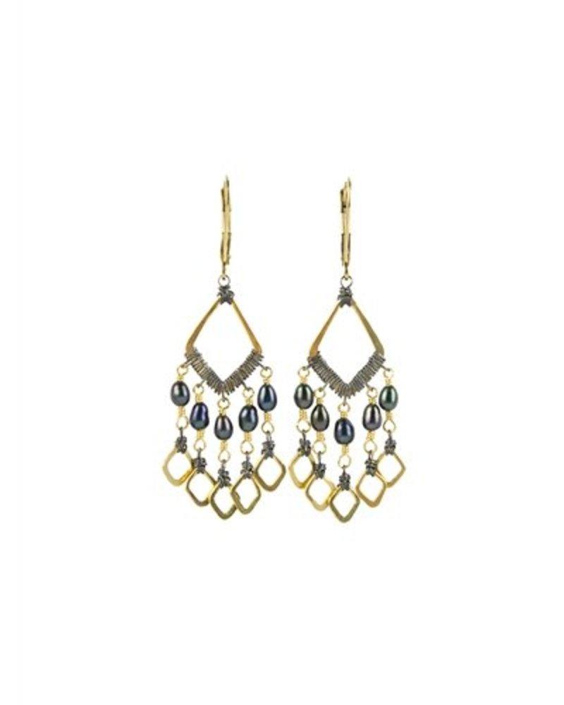 Dana Kellin Fashion Small Black Pearl Multi Dangle Earrings