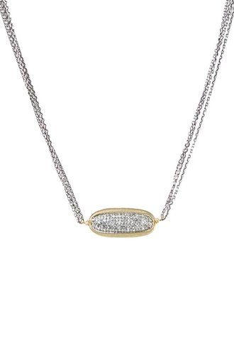 Dana Kellin Fine 14k Pave Diamond Oval Necklace