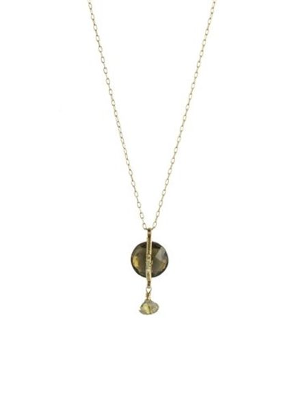Dana Kellin Fine 14k Citrine and Rutilated Quartz Necklace