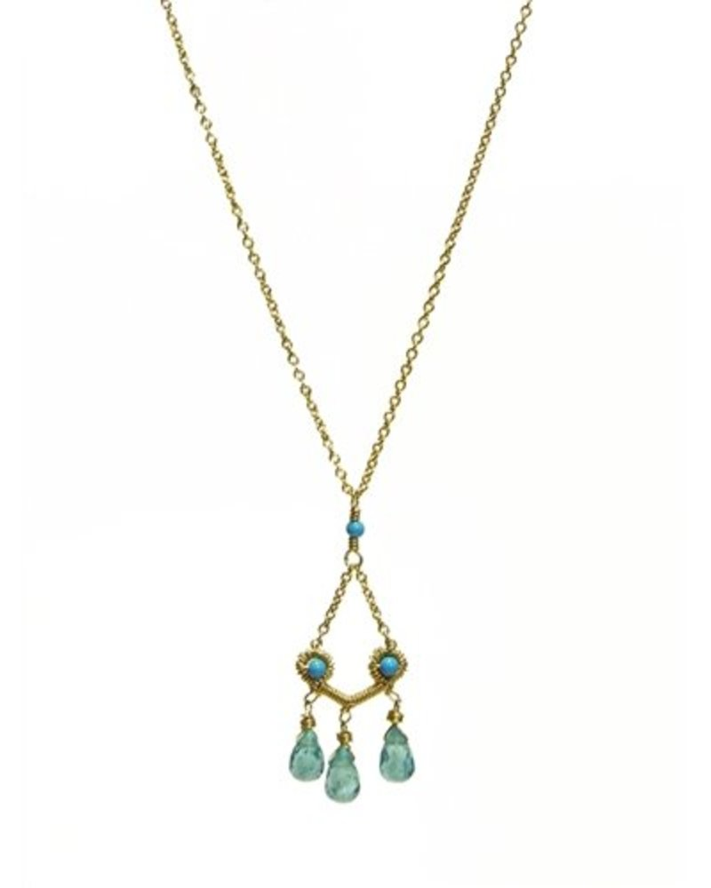 Dana Kellin Fashion Open Turquoise Pendant with Apatite Stone