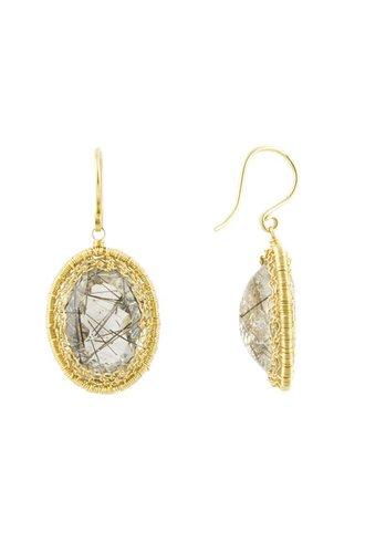 Dana Kellin Fine 14k Chain Framed Rutilated Quartz Earrings
