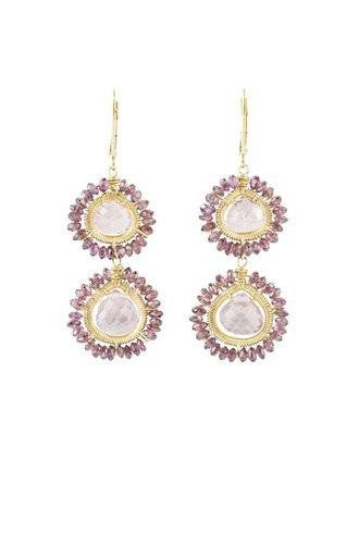 Dana Kellin Fashion Pink Quartz and Garnet Earrings