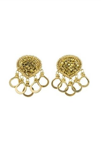 Dana Kellin Fashion Beaded Multi Gold Circle Studs