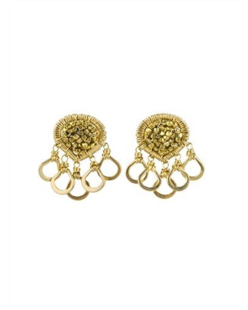 Dana Kellin Fashion Beaded Multi Gold Circle Studs