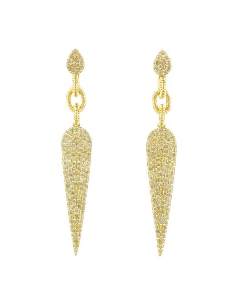 Dana Kellin Fine 14k Pave Diamond Pointed Drop Earrings