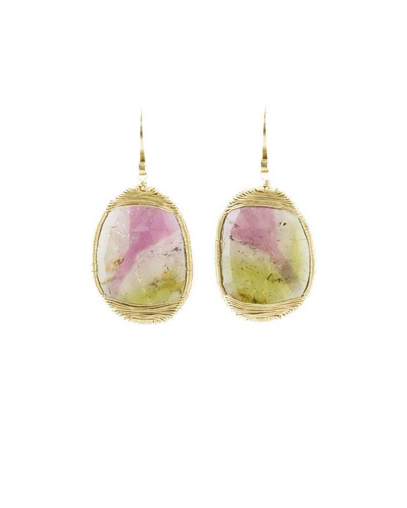 Dana Kellin Fine 14k Watermelon Tourmaline Earrings