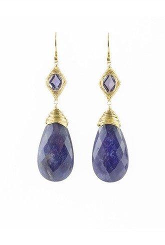 Dana Kellin Fine 14k Iolite and Sapphire Earrings