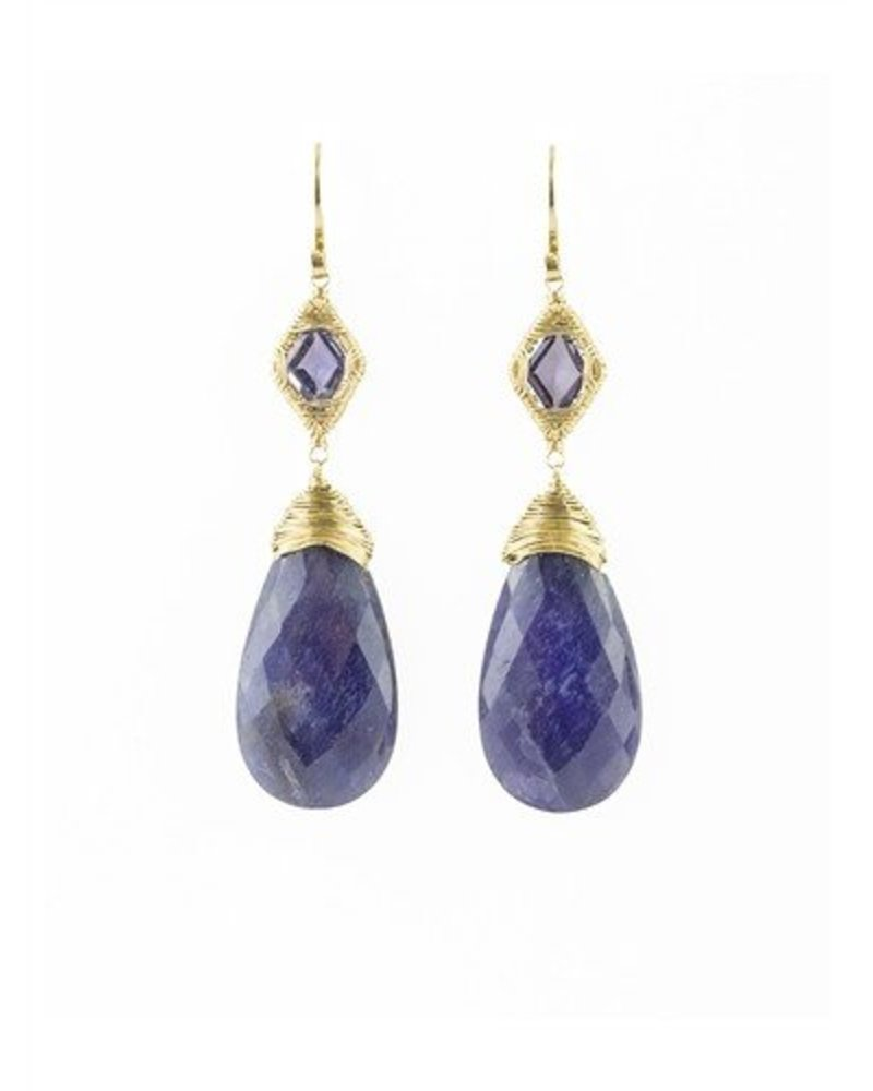Dana Kellin Fine 14k Iolite and Sapphire Earrings