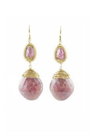 Dana Kellin Fine 14k Pink Tourmaline and Sapphire Earrings