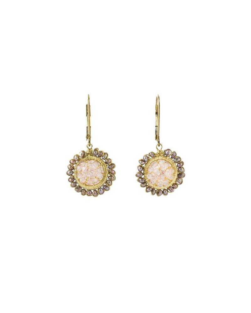 Dana Kellin Fashion Pink Quartz and Pearl Earrings