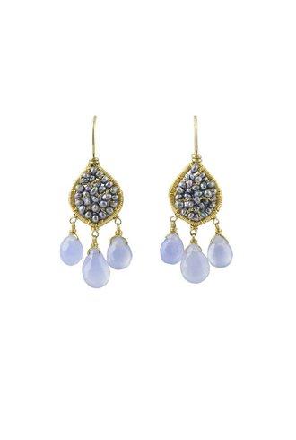 Dana Kellin Fashion Periwinkle Mix and Gold Earrings