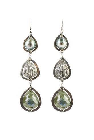 Dana Kellin Fine Diamond, Tahitian Pearl, and Labradorite Drop Earrings