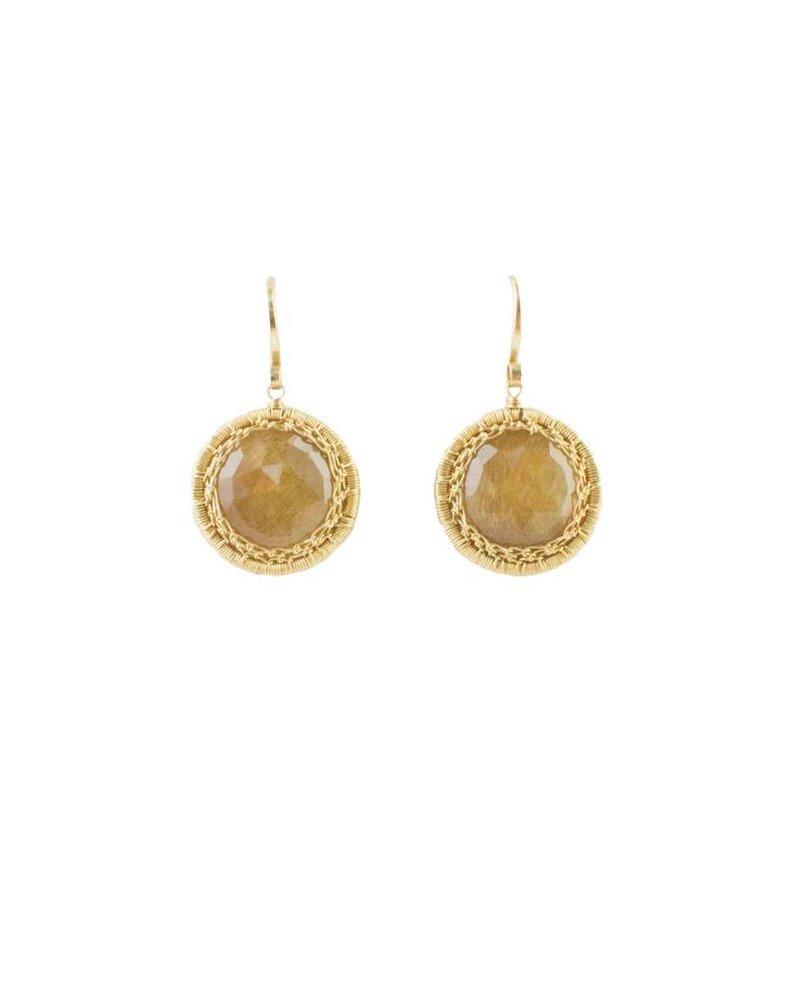 Dana Kellin Fine Circular Sunstone Earrings