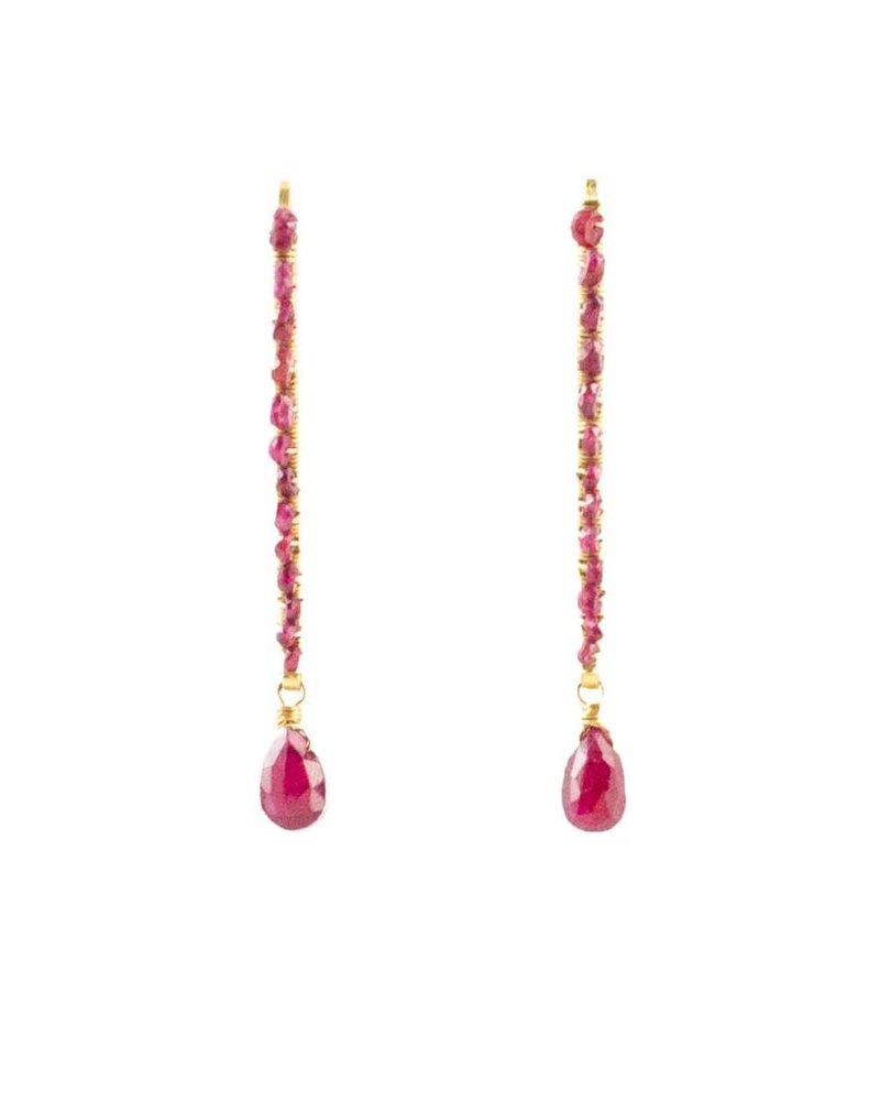 Dana Kellin Fine Beaded Ruby Drop Earrings